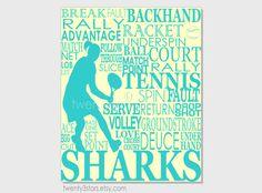 Women's Tennis Typography Art Print Perfect Gift by twenty3stars, $10.00