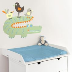 Friendly Alligator & Birds - Printed Wall Decals Stickers Graphics