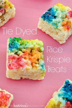 Ice Cream Rice Crispy Treat Sandwiches Rainbow Tie Dyed Rice Krispie Treats via Rice Krispy Treats Recipe, Rice Crispy Treats, Krispie Treats, Yummy Treats, Sweet Treats, Köstliche Desserts, Delicious Desserts, Dessert Recipes, Rice Recipes