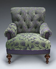 """""""Middlebury Chair Lavender/Green""""  Upholstered Chair  Created by Mary Lynn O'Shea"""