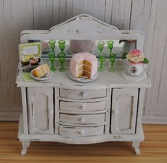 Miniature Shabby Chic Buffet/Chest With by LittleThingsByAnna, $70.00