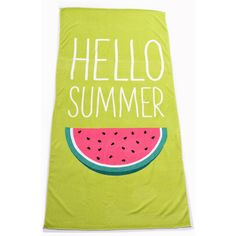 Green & Pink Watermelon Hello Summer Beach Towel ($28) ❤ liked on Polyvore featuring home, bed & bath, bath, beach towels, multicolor, dog beach towel, pink flamingo beach towel, green beach towel and pink beach towel
