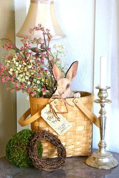 Be Book Bound: Beatrix Potter's Easter: A Garden Entry.  Easter basket with bunny rabbit holiday tabletop decoration.