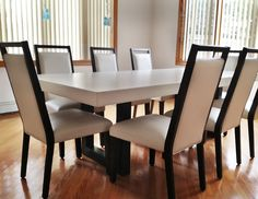 Concrete Zen Dining Table in color White Linen -Trueform Concrete Custom Work