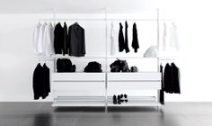 walk-in wardrobe with shoe rack in white, compositions to configure based on your requirements purchasable directly from the factory.