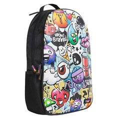 'Urban Junky' loud and proud scratch proof backpack from Urban Junk.  A black Back Attack rucksack, inspired by tech, culture and urban street life, 'Urban Junky' is an eclectic mix of doodles, graphics, graffiti and slogans. Mixed together to create a pick and mix urban print.  Skulls, Ice creams, eyeballs, cherries and diamonds are on the rucksack print too.  Complete with 'Urban Junk' branding in the bottom right hand corner.    Great for fitting (or stuffing) in EVERYTHING.