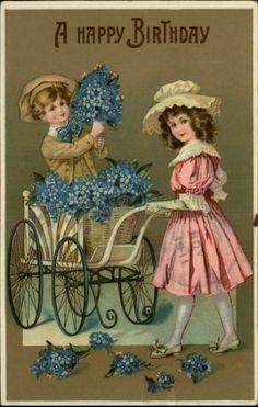 Birthday Boy Girl Carriage Blue Flowers Greeting c1910 Old Postcard   eBay