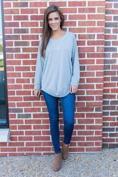 """Show My Love Top, Heather Gray""This top truly lets us show our love for comfy clothes! But that doesn't mean we have to sacrifice style! You can have both with this suuuuuper chic heather gray top!  #shopthemint #newarrivals"