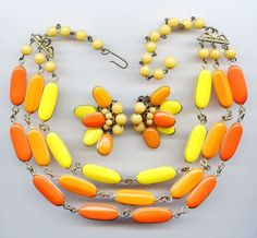 Vtg 1950s Candy Corn Orange Yellow Glass Bead 3 Strand Necklace & Earrings Set #NotSigned