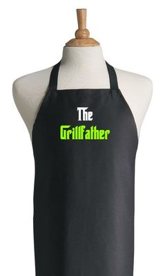 Sewing Gifts For Men Funny Black Barbecue Aprons For Men The Grillfather Fathers Day Apron Ideas - Diy Father's Day Gifts, Great Father's Day Gifts, Father's Day Diy, Gifts For Kids, Grill Apron, Bbq Apron, Fathers Day Shirts, Fathers Day Crafts, Funny Fathers Day Gifts