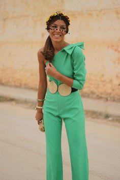 Party outfit ♡ Panambi Mono-teen l- assymétriq bow Estilo Fashion, Look Fashion, Girl Fashion, Fashion Show, Fashion Design, Wedding Guest Style, Cocktail Outfit, Jumpsuits For Women, Green Jumpsuits