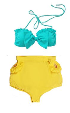 Mint Bow Top and Yellow Cut Out High waisted Shorts by venderstore, $39.99