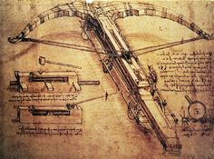 Giant catapult, c.1499 of artist Leonardo da Vinci, 1485, Armour, Arms, Atlanticus, Codex, Crossbow, Diagram, Drawing