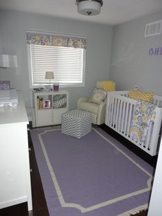 The lavender rug ties the room together.  #lavender #accentrug #girlnursery