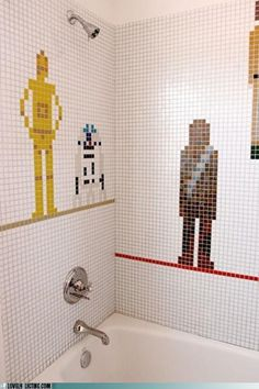 Star Wars Shower Tile - WANT! I can do our master bed/bath in star wars. Decoracion Star Wars, Star Wars Bathroom, Deco Disney, Bathroom Kids, Bathroom Tiling, Kids Bath, Fancy Bathrooms, Lego Bathroom, Master Bathroom