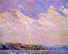 The Athenaeum - Lightning, Canoe Lake (Tom Thomson - ) Contemporary Landscape, Abstract Landscape, Landscape Paintings, Emily Carr Paintings, Paintings I Love, Tree Paintings, Canadian Painters, Canadian Artists, Group Of Seven Paintings