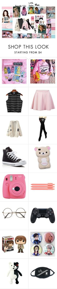 """""""Toy Story 3 OC: Maryanne Anderson"""" by cocorodoll ❤ liked on Polyvore featuring Converse, ONLY, WithChic, Fuji, Nintendo, GURU, Funko and LØMO"""