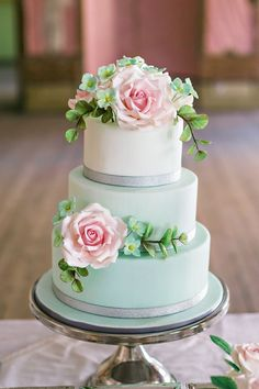 Mint and pink wedding cake #cakes #weddingcake #mintwedding #dessert #weddingdessert