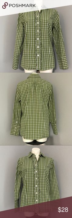 """Lands' End Green Plaid Ruffled Button Down Shirt ✨SALE✨Great condition Lands End green plaid Button down shirt with ruffles going down either side of buttons in front and big sleeve cuffs with four buttons...Great for work with khakis and a great brand with great longevity 💕 Size 14 it measures  about 22"""" across chest laying flat with a length of about 27""""...offers welcome bundle to save more plus ⚡️📦📫😃💕 normally $28 Lands' End Tops Button Down Shirts"""