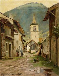 VILLENEUVE By Peder Mork Monsted Artwork Description Dimensions: 30,7 x 24cm Medium: Oil on canvas panel Creation Date: 1889