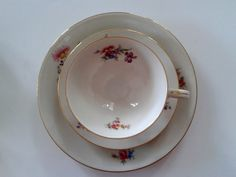Items similar to Vintage collectors trio (cup-saucer plate), bavarian porcelain Sammeltassen multifloral with fine golden rim on Etsy Side Plates, Plate Sets, Cup And Saucer, Porcelain, Tableware, Vintage, Porcelain Ceramics, Dinnerware, Dishes