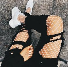 White Fishnet Tights Jeans-mate Mesh Pantyhose – LupsonaYou can find Fishnet stockings outfit and more on our website. Edgy Outfits, Teen Fashion Outfits, Mode Outfits, Grunge Outfits, Punk Fashion, Cute Casual Outfits, Girl Outfits, Summer Outfits, Fashion Tips