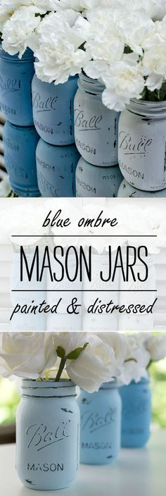 Mason Jar Craft Ideas: Ombre Painted Mason Jars