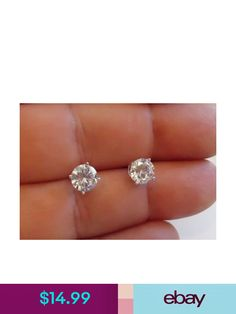 12db3a87c 14K SOLID YELLOW GOLD STUD EARRINGS W .50 CT FLAWLESS DIAMONDS 5MM IN  DIAMETER in 2018 | Products | Pinterest | Gold, Diamond and Gold studs