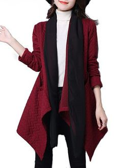 Wine Red Long Sleeve Asymmetric Hem Pocket Coat on sale only US$30.73 now, buy cheap Wine Red Long Sleeve Asymmetric Hem Pocket Coat at lulugal.com