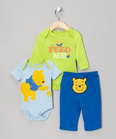 Take a look at this Blue Winnie the Pooh Bodysuit Set by Disney on #zulily today!