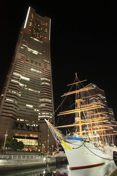The Landmark Tower and Nippon Maru (sailing ship).Yokohama Japan