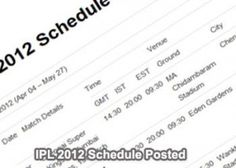 Complete IPL 5 Schedule 2012 Fixtures, Matches List, Teams and Venues