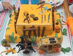 Homemade Wild West Birthday Cake: I made this homemade wild west birthday cake for my son's fourth birthday party which had a Cowboys and Indians theme.  I am a bit of a novice, but was