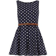 Navy polka dot belted dress ($55) ❤ liked on Polyvore