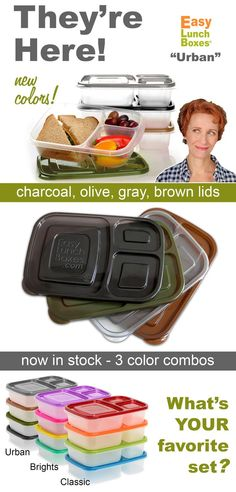 Pack Lunches FAST. EasyLunchboxes are now available in 3 color combos.