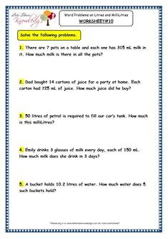 8 Grade 6 Math Word Problems Worksheets Grade 3 Maths Worksheets 13 6 Measurement of Capacity Word Problems on Litres and Millilitres in Grade 6 Math, 4th Grade Math Worksheets, Printable Math Worksheets, Grade 2, Printables, Capacity Worksheets, Measurement Worksheets, Addition Worksheets, Fractions