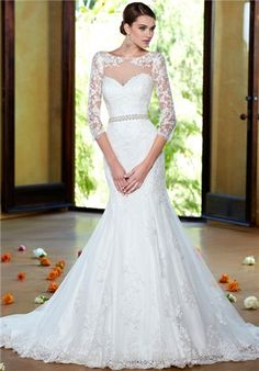 Lace mermaid wedding gown with sleeves and sweetheart neckline // Angelique, V1302 from Ivoire By Kitty Chen