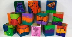 Portalápices en madera pintados a mano. Arte Country, Painting On Wood, Crafts, Color Turquesa, Clipboards, Boxes, Ideas, Sun, Wood Planters
