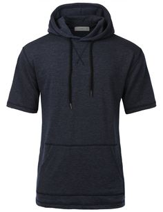 LE3NO Men Hipster Hip Hop Short Sleeve Hoodie Sweatshirt Top