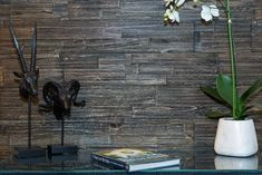 MyWoodWall Brushed W x L Peel and Stick Solid Wood Wall Paneling Color: Anthracite Pvc Wall Panels, Decorative Wall Panels, Wood Panel Walls, Wooden Walls, Stick On Wood Wall, Wood Sticks, Office Wallpaper, Wallpaper Panels, Timber Panelling