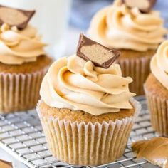 These tender cupcakes are made with peanut butter in the batter and are topped with creamy peanut butter frosting. They have a double dose of peanut butter for the perfect peanut butter cupcake recipe. Peanut Butter Cupcakes, Peanut Butter No Bake, Creamy Peanut Butter, Lemon Cupcakes, Coconut Cookies, Edible Cookies, Cake Mix Cookies, Raisin Cookies, Oatmeal Cookies