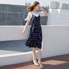 드레스 정장 여성 여름 2017 새로운 새로운 도착 연꽃 소매 셔츠 쉬폰 꽃 무늬 원피스 투피스 드레스