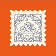 Line illustration stamp amsterdam bicycle bike building logo design flower tulips flowers floral // By @town_squares | sponsored post on request via thedesigntip@gmail.com