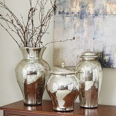 Mercury Glass Vases - Perfect for tall arrangements, such as gold spray painted branches