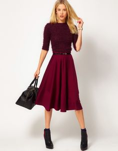 Buy ASOS Midi Skirt In Ponte at ASOS. Get the latest trends with ASOS now. Maroon Skirt, Black Midi Skirt, Skirt Outfits, Dress Skirt, Asos Skirts, Midi Skirts, Calf Length Skirts, Going Out Outfits, Dress Cuts
