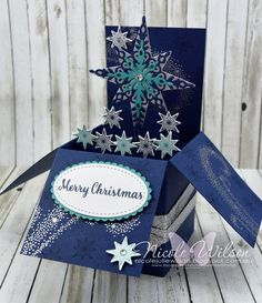http://nicolejuliewilson.blogspot.com.au/ ESAD favourites blog hop challenge - Star of Light Box card in Night of Navy, Silver and Bermuda Bay. www.facebook.com/NicoleWilsonStamp #stampinup