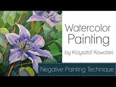 Watercolor painting - Negative painting technique - YouTube Watercolor Negative Painting, Watercolor Video, Watercolor Projects, Watercolour Tutorials, Watercolor Techniques, Painting Techniques, Watercolor Flowers, Painting Videos, Painting Lessons