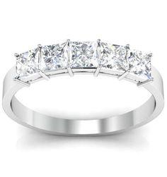 5 stone ring with princess cut diamonds