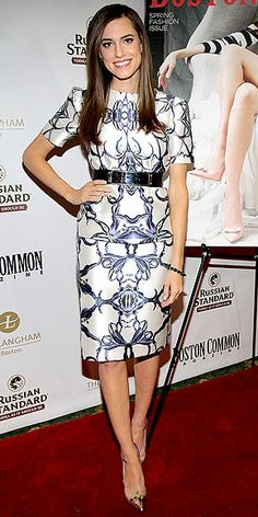 ALLISON WILLIAMS  Looking perfectly polished as always, the Girls actress works a graphic print Prabal Gurung sheath with a black belt, metallic Schutz heels and her signature sleek blowout while celebrating her Boston Common cover in Boston.