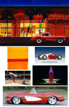 OH MY LITTLE RED CORVETTE. A hot night, a hot car and lady to match! With influences from Rothko and Kadir Nelson. Lovely belly tank hot rod and gorgeous soda pop gas station. Kadir Nelson, Little Red Corvette, E Type, Gas Station, Hot Cars, Soda, In This Moment, Night, Artwork